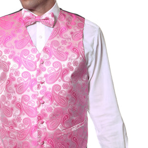 Ferrecci Mens Fuchsia Paisley Wedding Prom Grad Choir Band 4pc Vest Set - Ferrecci USA