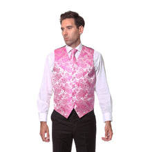 Load image into Gallery viewer, Ferrecci Mens Fuchsia Paisley Wedding Prom Grad Choir Band 4pc Vest Set - Ferrecci USA