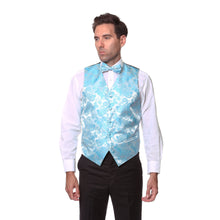 Load image into Gallery viewer, Ferrecci Mens Turquoise Paisley Wedding Prom Grad Choir Band 4pc Vest Set - Ferrecci USA
