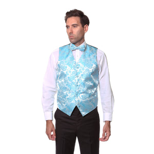 Ferrecci Mens Turquoise Paisley Wedding Prom Grad Choir Band 4pc Vest Set - Ferrecci USA