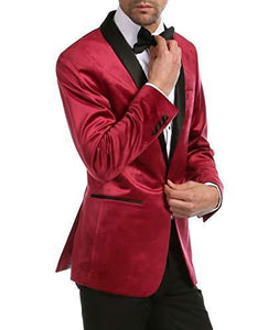 Enzo Burgundy Velvet Slim Fit Shawl Lapel Tuxedo Men's Blazer - Ferrecci USA