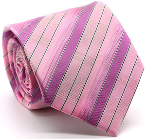Mens Dads Classic Pink Stripe Pattern Business Casual Necktie & Hanky Set A-9 - Ferrecci USA