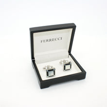 Load image into Gallery viewer, Silvertone Black and White Square Cuff Links With Jewelry Box - Ferrecci USA