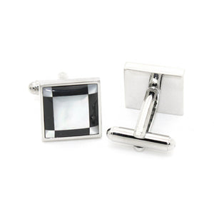 Silvertone Black and White Square Cuff Links With Jewelry Box - Ferrecci USA