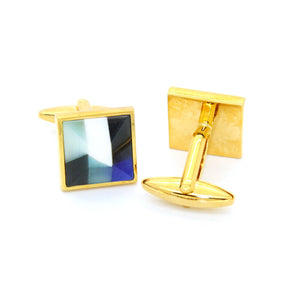 Goldtone Mix Stripe Cuff Links With Jewelry Box - Ferrecci USA