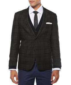 The Ares Plaid Slim Fit Mens Blazer - Ferrecci USA