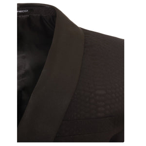 Ash All Black Snake Skin Tuxedo Blazer - Ferrecci USA
