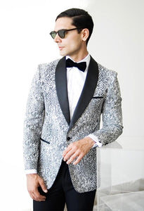 Ash Black and White Snake Skin Tuxedo Blazer - Ferrecci USA