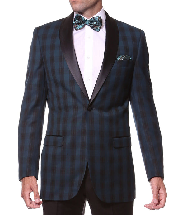 The Astor Teal Plaid Slim Shawl Tuxedo Blazer - Ferrecci USA