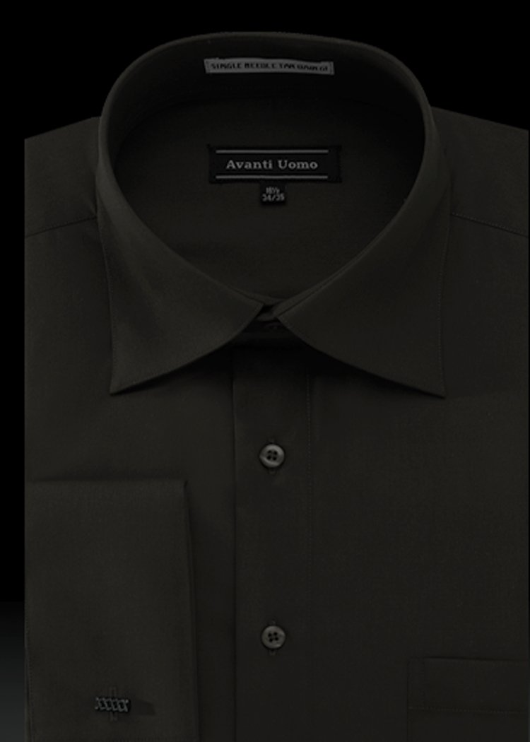 Men's French Cuff Dress Shirt Spread Collar- Color Black