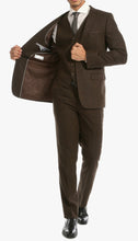 Load image into Gallery viewer, Bradford Cognac Slim Fit 3 Piece Tweed Suit - Ferrecci USA