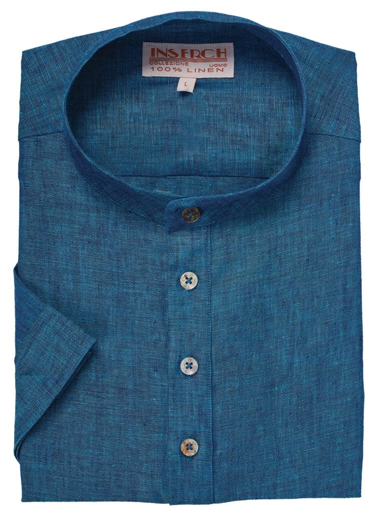 MEN'S DEEP SEA BLUE LINEN BANDED COLLAR POP OVER SHIRT BY INSERCH