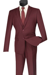 Men's Ultra Slim Fit suit 2 Piece-color Burgundy