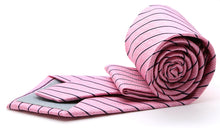 Load image into Gallery viewer, Mens Dads Classic Pink Striped Pattern Business Casual Necktie & Hanky Set C-10 - Ferrecci USA