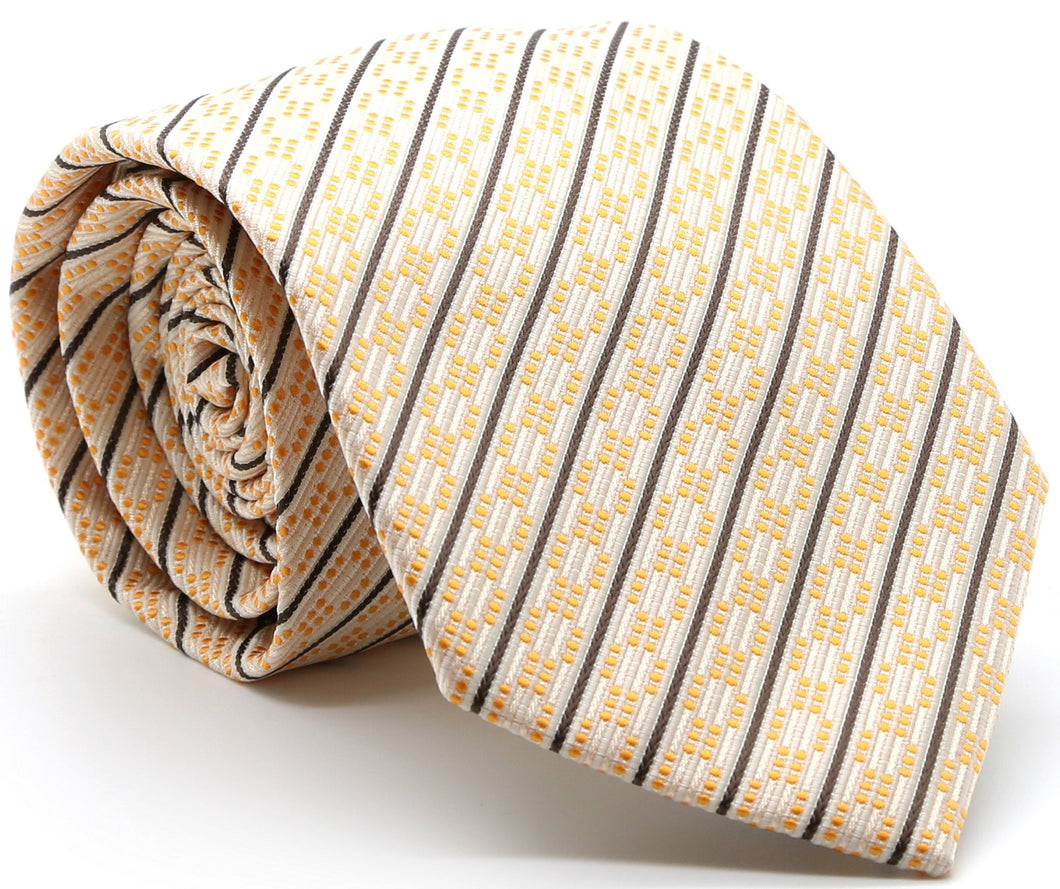 Mens Dads Classic Yellow Striped Pattern Business Casual Necktie & Hanky Set C-12 - Ferrecci USA