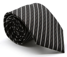 Load image into Gallery viewer, Mens Dads Classic Black Striped Pattern Business Casual Necktie & Hanky Set C-3 - Ferrecci USA