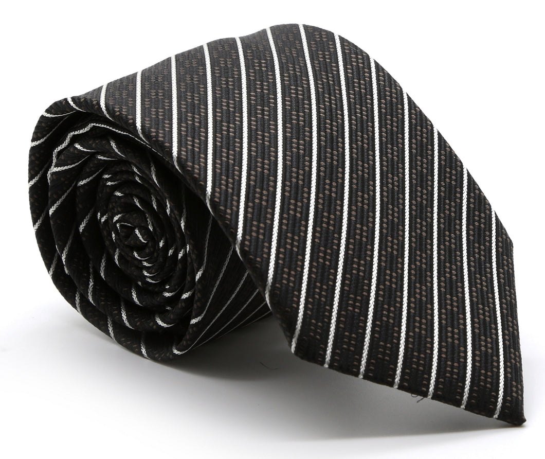 Mens Dads Classic Black Striped Pattern Business Casual Necktie & Hanky Set C-3 - Ferrecci USA