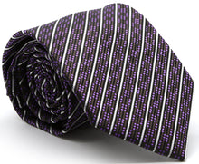 Load image into Gallery viewer, Mens Dads Classic Purple Striped Pattern Business Casual Necktie & Hanky Set C-5 - Ferrecci USA