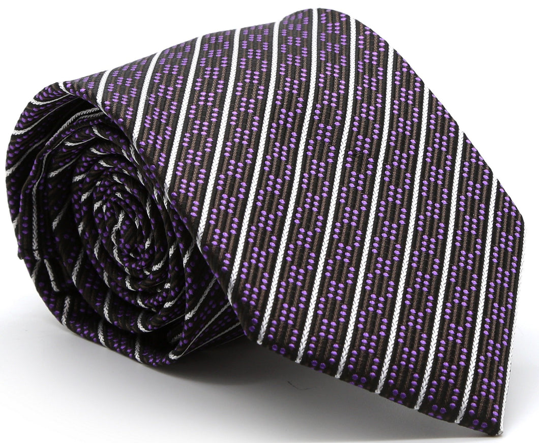 Mens Dads Classic Purple Striped Pattern Business Casual Necktie & Hanky Set C-5 - Ferrecci USA