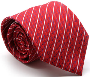 Mens Dads Classic Red Striped Pattern Business Casual Necktie & Hanky Set C-6 - Ferrecci USA