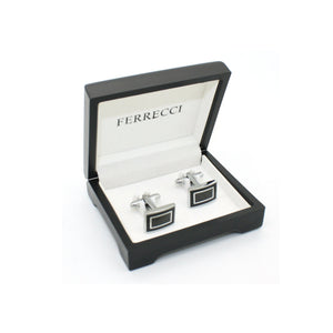 Silvertone Carboform Cuff Links With Jewelry Box - Ferrecci USA