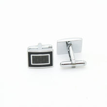 Load image into Gallery viewer, Silvertone Carboform Cuff Links With Jewelry Box - Ferrecci USA