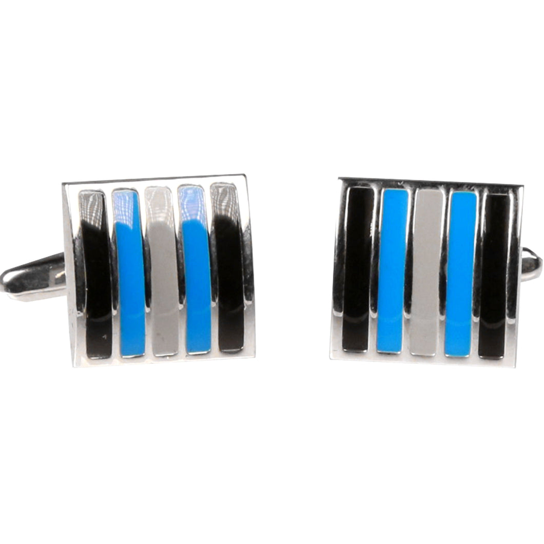 Silvertone Square Blue Stripe Cufflinks with Jewelry Box - Ferrecci USA