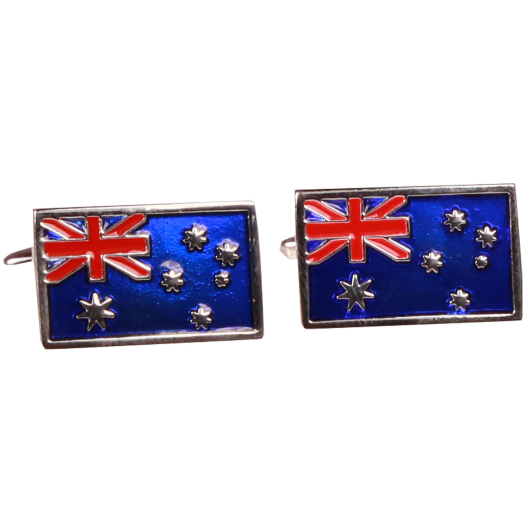 Silvertone Australian Flag Cufflinks with Jewelry Box - Ferrecci USA