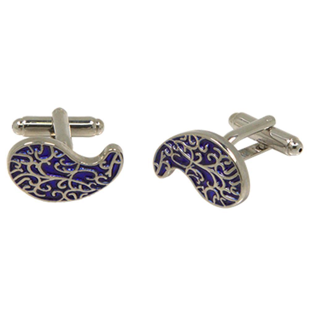 Silvertone Novelty Blue Paisley Cufflinks with Jewelry Box - Ferrecci USA