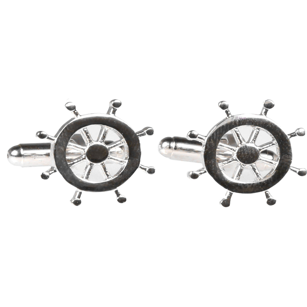 Silvertone Novelty Ship Wheel Cufflinks with Jewelry Box - Ferrecci USA