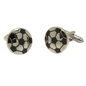 Silvertone Novelty Soccer Ball Cufflinks with Jewelry Box - Ferrecci USA
