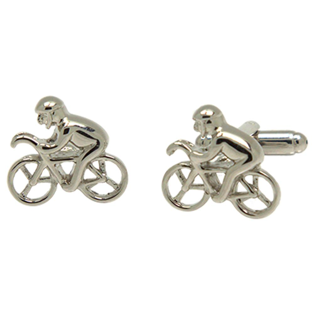 Silvertone Novelty Cyclist Cufflinks with Jewelry Box - Ferrecci USA