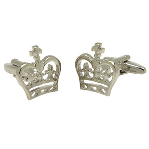 Silvertone Novelty Crown Cufflinks with Jewelry Box - Ferrecci USA
