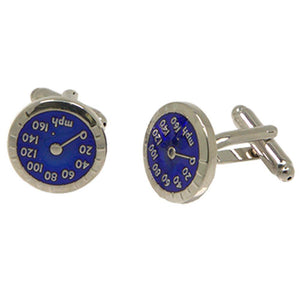 Silvertone Novelty Speedometer Cufflinks with Jewelry Box - Ferrecci USA