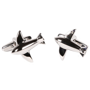 Silvertone Novelty Airplane Cufflinks with Jewelry Box - Ferrecci USA