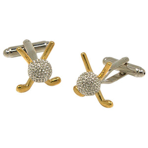 Silvertone Golf Ball Gold Putter Cufflinks with Jewelry Box - Ferrecci USA