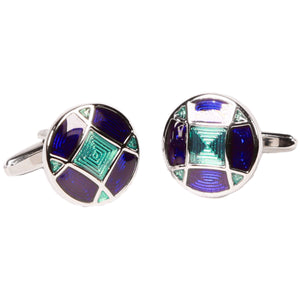 Silvertone Circle Blue Geometric Cufflinks with Jewelry Box - Ferrecci USA