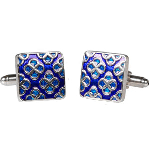 Silvertone Square Blue Geometric Pattern Cufflinks with Jewelry Box - Ferrecci USA