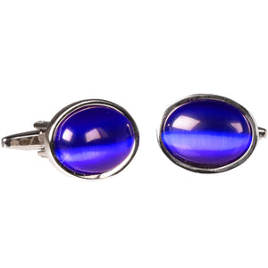 Silvertone Circle Blue Gemstone Cufflinks with Jewelry Box - Ferrecci USA
