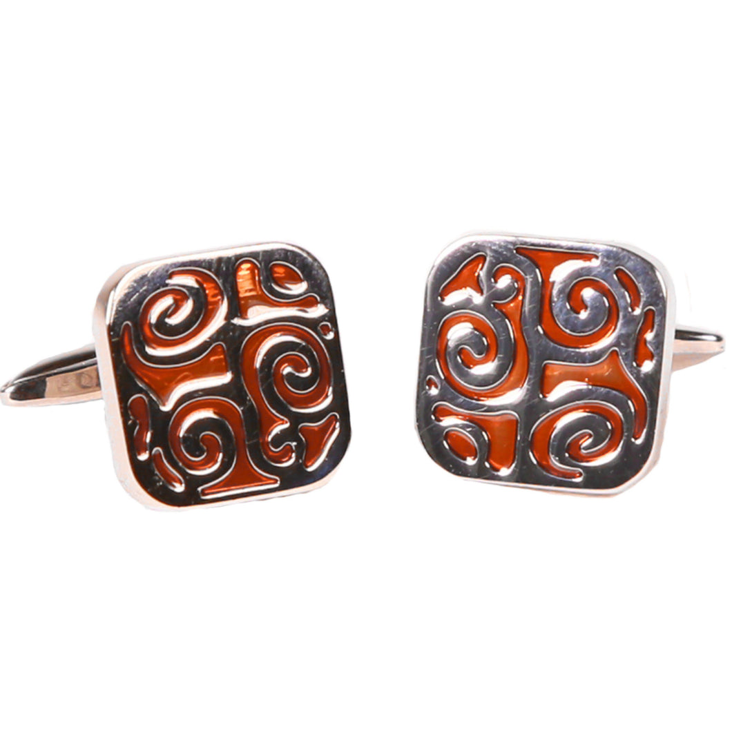 Silvertone Square Orange Geometric Pattern Cufflinks with Jewelry Box - Ferrecci USA