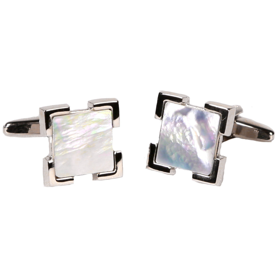 Silvertone Square Blue Pearlized Gemstone Cufflinks with Jewelry Box - Ferrecci USA