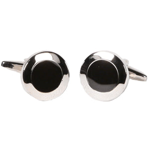 Silvertone Circle Black Silver Cufflinks with Jewelry Box - Ferrecci USA