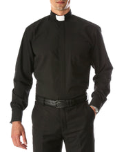 Load image into Gallery viewer, Black Clergy Deacon Bishop Priest Mandarin Collar Shirt - Ferrecci USA