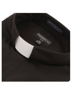 Black Clergy Deacon Bishop Priest Mandarin Collar Shirt - Ferrecci USA