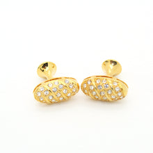 Load image into Gallery viewer, Goldtone Oval Crystal Gemstone Cuff Links With Jewelry Box - Ferrecci USA