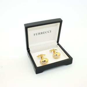 Goldtone Gemstone Cuff Links With Jewelry Box - Ferrecci USA