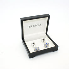 Load image into Gallery viewer, Silvertone Blue Gemstone Metal Cuff Links With Jewelry Box - Ferrecci USA