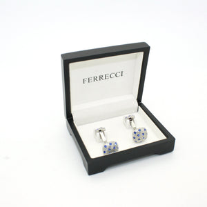 Silvertone Blue Gemstone Metal Cuff Links With Jewelry Box - Ferrecci USA