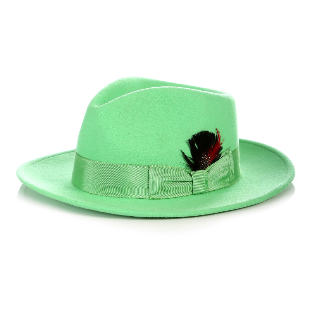 Crushable Green Fedora Hat - Ferrecci USA