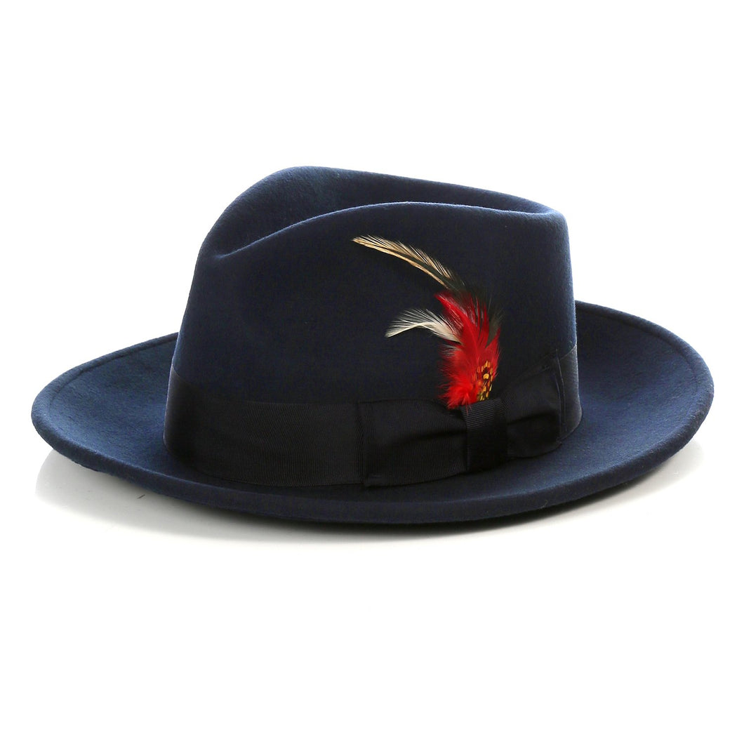Crushable Fedora Hat in Navy - Ferrecci USA